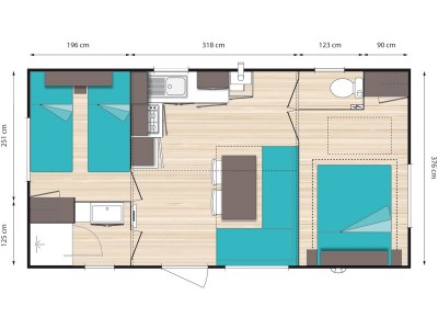 Plan Mobil home 4 places